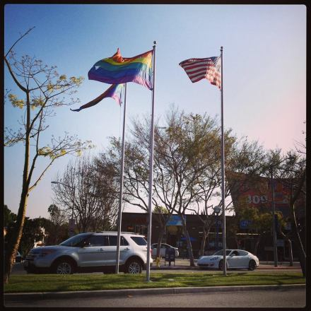 LGBT Rainbow flags flying in West Hollywood, CA.